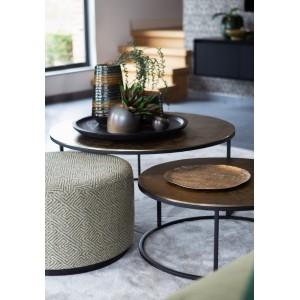 table ronde dorée métal noir