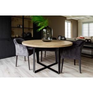 Table en bois ronde pieds métal noir